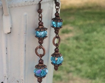 Electric Blue and Antique Copper Crystal Dangle Earrings; Crystal Drop Earrings; Blue Dangle Earrings; Copper Earrings; Chain Earrings