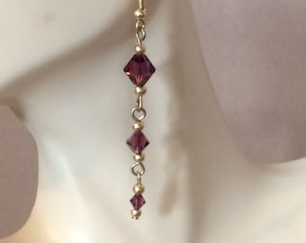 Purple Swarovski Crystal Dangle Earrings; Crystal Drop Earrings; Purple Crystal Dangle Earrings; Purple Cascade Earrings; Purple Crystals