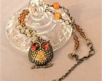 Rhinestone Crystal Owl Pendant Necklace; Yellow, Orange, and Gold Rhinestone Owl Necklace; Crystal Owl Necklace; Rhinestone Owl Necklace
