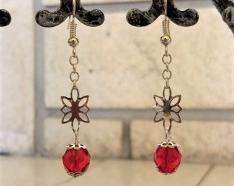 Red Crystal and Silver Flower Dangle Earrings; Crystal and Flower Dangle Earrings; Silver Flower Earrings; Red Crystal Earrings