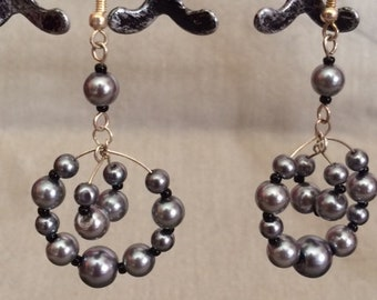 Gray and Black Pearl Dangle Earrings; Gray and Black Drop Earrings; Gray Earrings; Statement Earrings; Pearl Earrings; Hoop Earrings