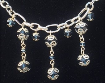 Montana Sapphire Blue and Silver Crystal Chandelier Necklace; Blue and Silver Dangle Necklace; Blue and Silver Chain Necklace; Bib Necklace