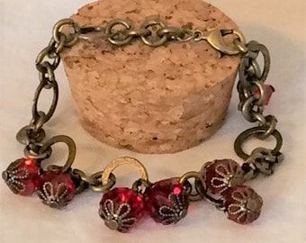 Ruby Red and Antique Gold Crystal Charm Bracelet; Crystal Dangle Bracelet; Red Crystal Bracelet; Crystal Bracelet; Charm Bracelet