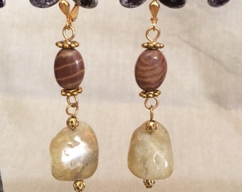 Citrine and Jasper Beaded Dangle Earrings; Citrine Earrings; Jasper Earrings; Semi-Precious Stone Earrings; Citrine and Jasper Drop Earrings