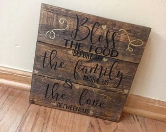 Rustic Handmade Custom Wall Decor Wall Hanging Reclaimed Real Wood Stained Bless The Food Before Us The Family Beside Us And The Love Sign