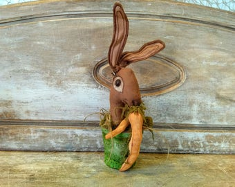 Primitive Rabbit - Primitive Bunny - Primitive - Easter Bunny - Hare - Carrots - Rustic - Farmhouse - Easter - Easter Decor - Spring - Faap