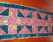 Table Runner Quilted Table Runner Rose Table Runner Churn Dash Block Handmade Table Runner Teal Batik Runner