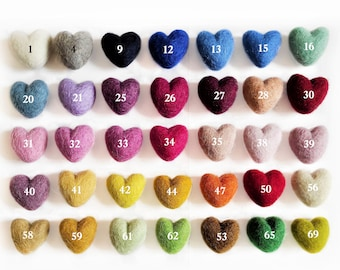 30mm (1.18 inch) Wholesale Wool Felt Hearts Felt Beads Wool Pom Pom Hearts Wholesale Bulk Craft Decoration Hearts 3cm (1.18 inch)