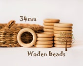 34mm Wooden Rings - Wooden Rings Pack - Unfinished Rings - Wooden Rings