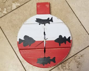 Bobber Wood Distressed Walleye Bass Muskie and Crappie Fish Rustic Clock Cabin Decor Home Decor Country Clock Decor Red and White