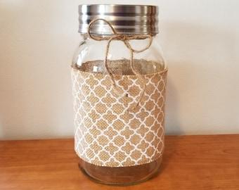 Burlap Wrapped Gallon Wide Mouth Mason Jar with Rustic Chevron Design - Wedding Centerpiece - Shower Centerpiece - Home Decor -