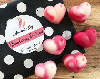 Strawberries & Cream - 6 Soy Wax Heart Melts - Handmade - Aromatic Soy