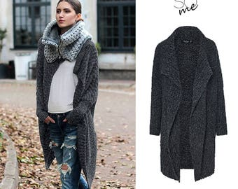 Graphite Cardigan Wrap Oversized. Chunky knit sweater. Marble grey sweater. Loose fit wool sweater.