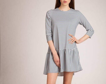 Striped dress with frill.