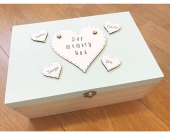Personalised wooden memory box with lid, memory box, personalised memory box, wooden memory box, box with lid, childrens memory box