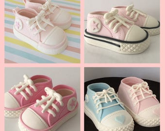 898564c84edc13 Baby girl or boy converse cake toppers