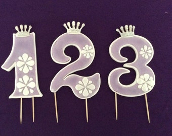 """Sophia the First Age number cake topper,Birthday party  Sophia the First. 4 1/2 """"Tall- 3""""W"""