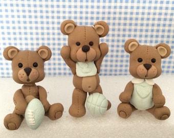 3 Cute Teddy Bears Cake toppers ,Boys or girls Teddy Bears Cake toppers,Birthday Boy or girl  Baby Shower .