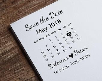 Save The Date Stamp Calendar Custom Wedding Invitations DIY Invitation Z49