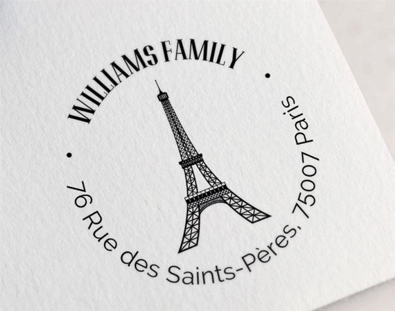 Eiffel Tower Paris France Return Address Stamp Personalized Custom Return Address Rubber Stamp France Paris Home Sweet Home