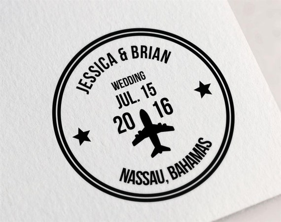 Custom Wedding Stamp Passport Save The Date