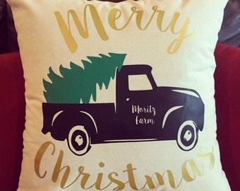 FM82 Vintage Merry Christmas Pillow
