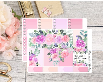 Floral The Best Is Yet To Come Weekly Kit Planner Stickers - For Erin Condren Life Planner