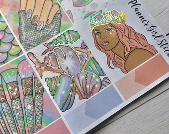 Mermaid Holographic Foil  Weekly Kit Planner Stickers - For Erin Condren Life Planner