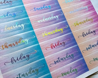 Holographic Foiled Date Covers Planner Stickers - For Erin Condren Life Planner or Happy Planner