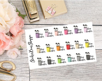 Clean Brushes Planner Stickers - For Erin Condren Life Planner or Happy Planner