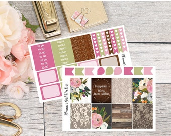 Rustic Floral Mini Kit Planner Stickers - For Erin Condren Life Planner or Happy Planner