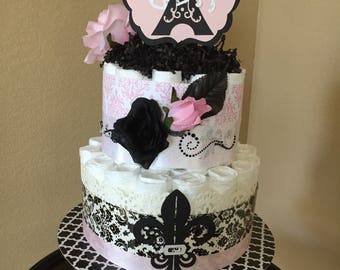 Paris Theme Diaper Cake/It's A Girl/Baby Shower Centerpiece/Mother To Be Gift/Pink and Black Paris Diaper Cake/French Quarters