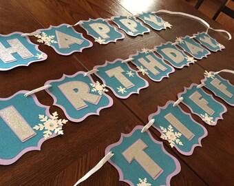 Frozen Inspired Birthday Banner/Girl's Birthday/Frozen/Winter Wonderland/Snowflake and Glitter
