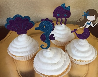 Little Mermaid Cupcake Toppers/I'm One/Girl's Birthday/Birthday Cupcake Toppers/Birthday Parties
