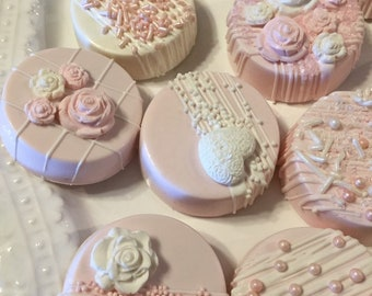 Pink/White Chocolate Covered Double Stuffed Oreo Cookie Treats(1Doz)/Baby Shower/Wedding/Bridal Shower Treats/Sweet Sixteen/Pink Party Treat
