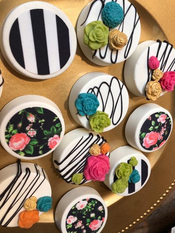 1 DOZ Famous Designer White Chocolate Oreo Cookies Bridal ShowerGirl/'s BirthdayChocolate Oreo CookiesHostess GiftSweet Sixteen