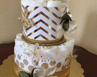 Butterfly White and Gold Diaper Cake/Baby Shower/Mother To Be Gift/Baby Centerpiece/Diaper Centerpiece/Butterfly Centerpiece