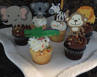 Safari Cupcake Toppers/Jungle Theme/Safari Boy's Baby Shower/Boy's Baby Shower