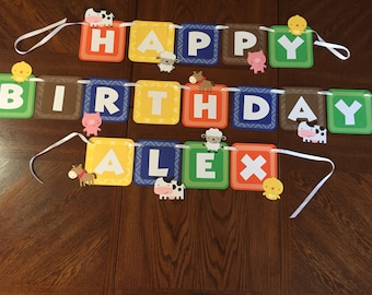 Farm Animal Birthday Banner and Cupcake Toppers/Child's Birthday/Baby Shower/Country Theme