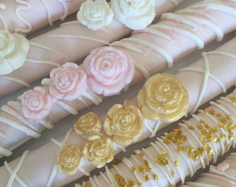 Pink/White and Gold Chocolate Pretzel Rods(1 DOZ)/Baby Shower Treats/Girl's Birthday/Bridal Shower/ Party Treats/Chocolate Pretzels/Sweet Si