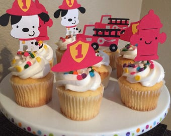 Firefighter Cupcake Topper/Firetruck & Dalmatian/Boys Birthday/I'm One Birthday/Firetruck Party Theme