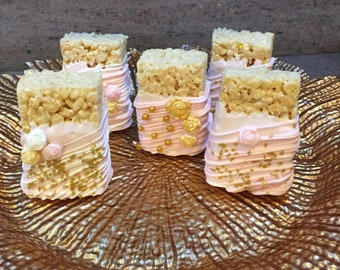 Pink/Gold Chocolate Covered Rice Krispies Treats(1 DOZ)/Baby Shower/Girl Birthday/Bridal Showers/Weddings/Sweet Sixteen/ Pink/Gold Treats