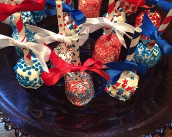 4th of July Chocolate Covered Marshmallows/Holiday Parties/BBQ Treats/Red White and Blue/Patrioic Treats