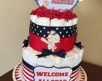 Baby Boy Allstar Sports Theme Diaper Cake/Boy Baby Shower/MotherTo Be Gift/ Diaper Cake/Sports Theme