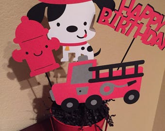Firetruck/Dalmation Centerpiece/I'm One/Boys Birthday/ Boy Centerpiece/Firetruck Centerpiece/Birthday Centerpiece for Boys/Baby Showers