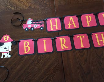 Fireman Birthday Banner/Boys Birthday/Birthday Parties for Boys/I'm One/Fireman Theme/Firetruck Theme