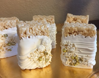 Gold/White Chocolate Covered Rice Krispies Treats(1 DOZ)/Wedding/Bridal Shower/ Baptism/Holy Communion/Anniversary/Sweet 16/Birthday Parties