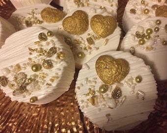 White/Gold Chocolate Covered Oreo Cookies(1 DOZ)/Weddings/Bridal Showers/Anniversary/Oreo Cookies/Sweet 16/Birthday Parties