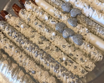Silver/White Chocolate Wedding Pretzel Rods (1Doz)/Bridal Showers/Sweet Sixteen/Birthday Parties/Anniversay