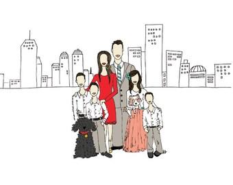 Custom Illustrated Family Portrait- Couple Portrait, Personalized Illustration, Birthday Gift, Christmas Gift,